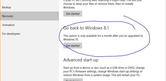 Go Back to Windows 8.1